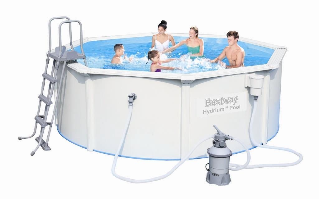 Bestway Stahlwandpool Set 360x120 + Sandfilter 56574